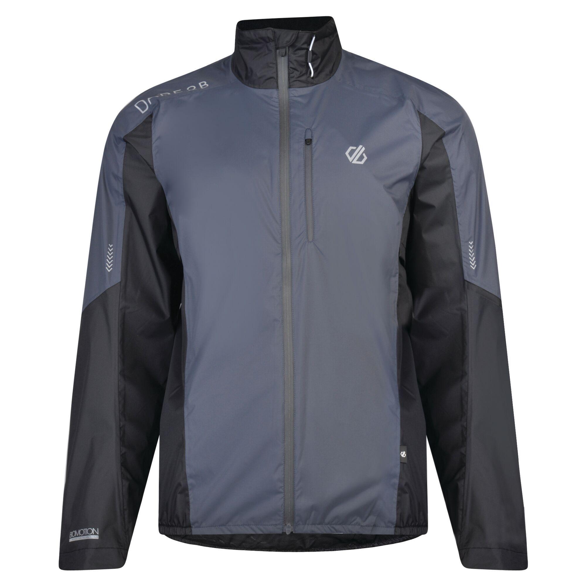 waterproof running jacket in grey/black