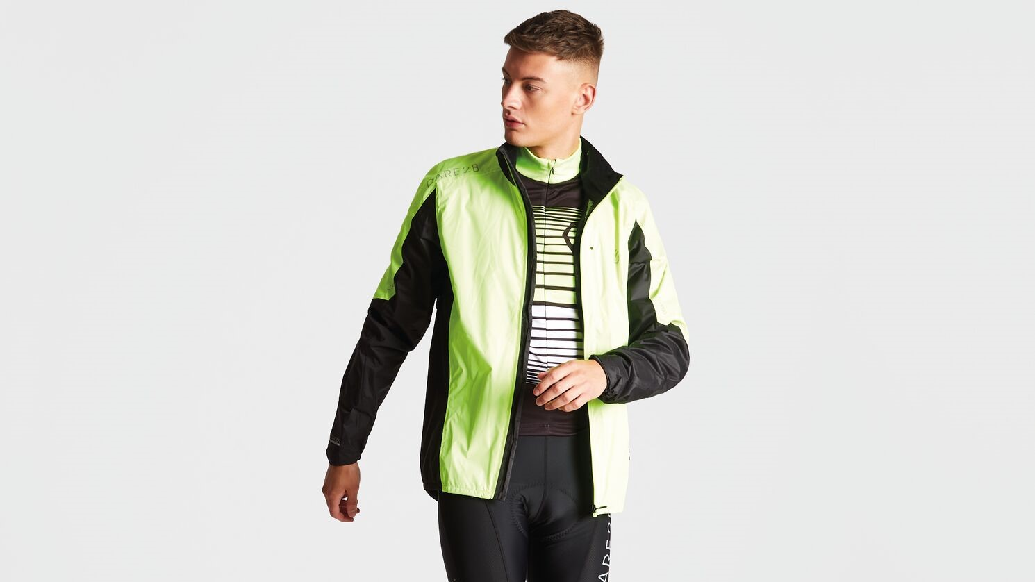 Model wearing hi vis cycling clothing